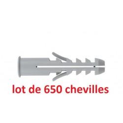 Pack de 650 chevilles a collerette INDEX