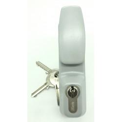 Module extérieur à bouton fixe et à 1/2 cylindre européen finition argent