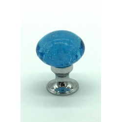 bouton en verre bleu