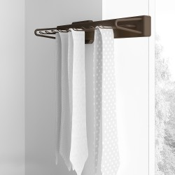 Emuca Porte-cravates latéral extractible, fermeture amortie, Aluminium et plastique, Couleur moka