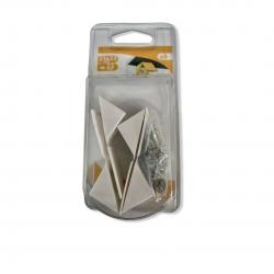 Lot de 4 taquets équerre d'étagère à visser plastique blanc 23x23mm avec VIS