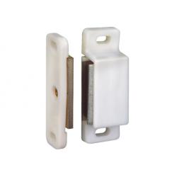Lot de 2 Loqueteaux magnétiques 6kg Plastique Blancs Avec Vis