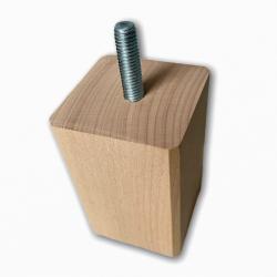 Pied de meuble carré fixe hêtre naturels, 8 cm